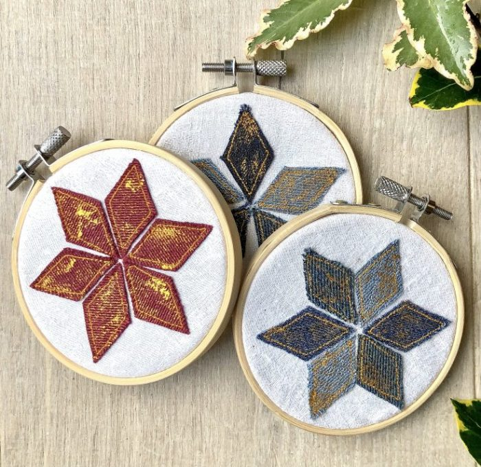 Denim Embroidery Hoop Christmas Ornaments