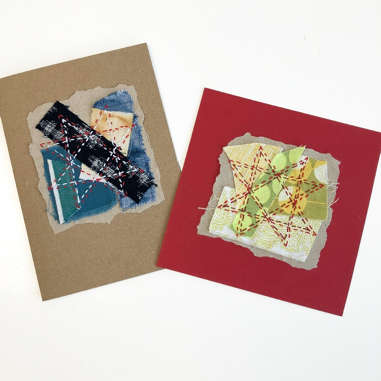 Combine textile collage with some hand stitching to create unique individual cards. The process of making fabric scraps cards is relaxing and creative.