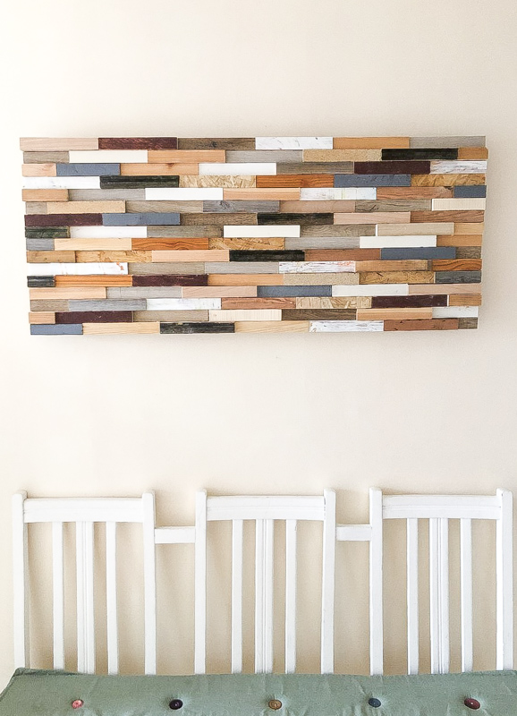 Super easy DIY scrap wood wall art, make the most of offcuts of wood and make a customised piece of wall art