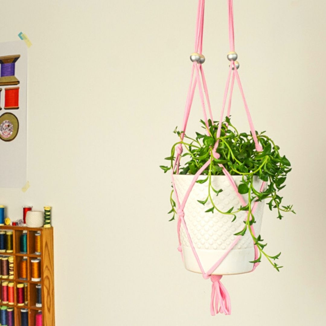 DIY Macrame Plant Hanger made from an old T Shirt. This fabulous upcycled DIY plant hanger takes only an hour to make.