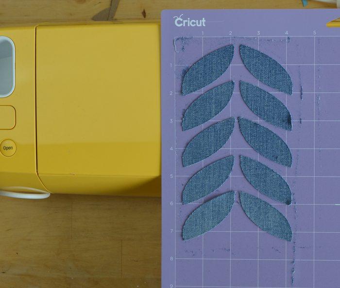 cut denim leaves for pillow cushion