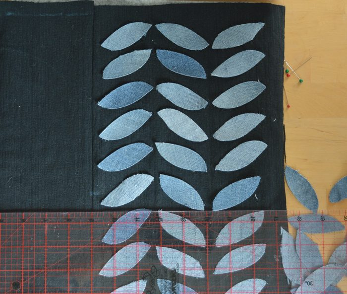 placement of denim eaf for pillow cushion